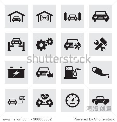 向量黑色汽车服务图标组灰色背景
