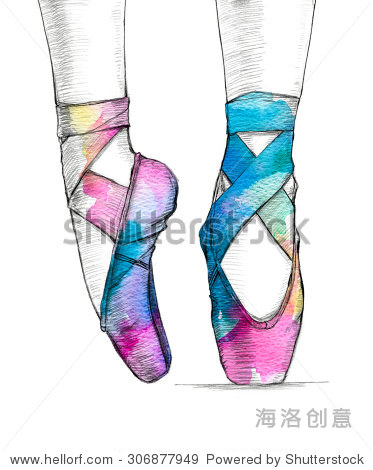 手绘插图的芭蕾舞鞋芭蕾舞演员的脚在跳舞.黑鞋涂上颜色的水彩.