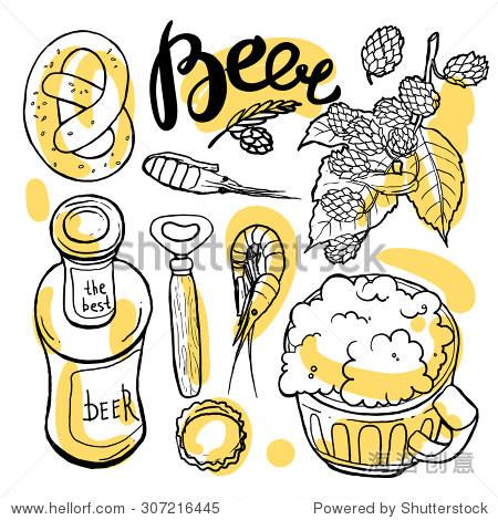 漂亮的手绘插图啤酒和零食.食物顶视图.
