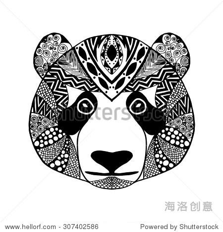 动物.黑白手绘涂鸦.民族图案矢量图.非洲,印度,图腾纹身设计.