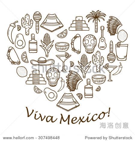 向量与可爱的手绘背景对象在心形主题:墨西哥草帽,雨披,龙舌兰酒,鸡尾
