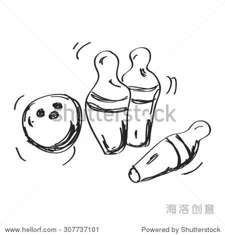 简单的手绘涂鸦一个保龄球和玩乐