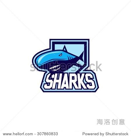 鲨鱼标志模板-动物/野生生物-海洛创意正版图片,视频