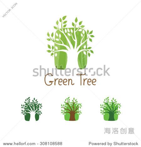 green tree logo design template. garden creative图片