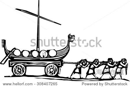 木刻风格表现主义的海盗形象奴隶马车拖着一艘船.