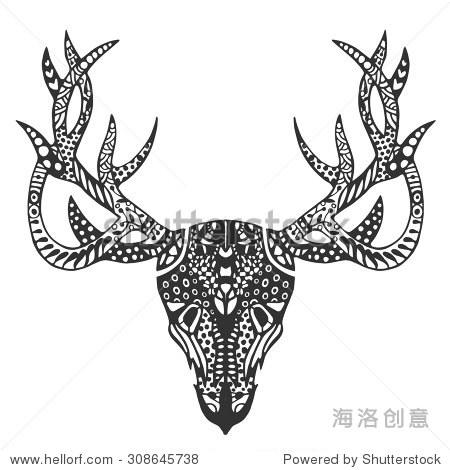 画鹿头骨涂鸦风格的. - 动物/野生生物,艺术 - 站酷