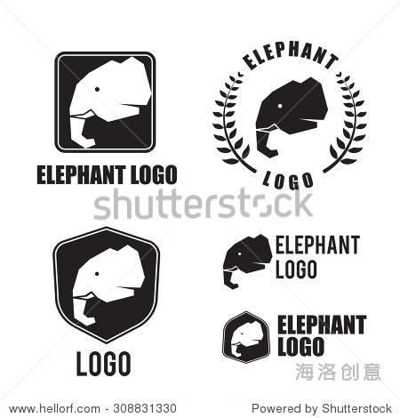 大象剪影标志元素,平面设计的标志和品牌矢量插图