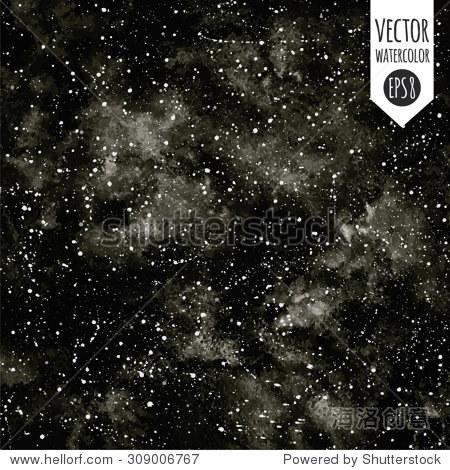 黑白手绘水彩向量夜空的星星.单色的宇宙背景.