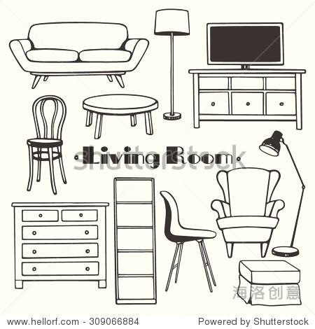 矢量插图的客厅家具.手绘家具设置线性风格.