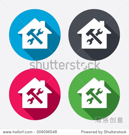 服务的房子.修复工具图标.服务的象征.锤子和扳手.圆.