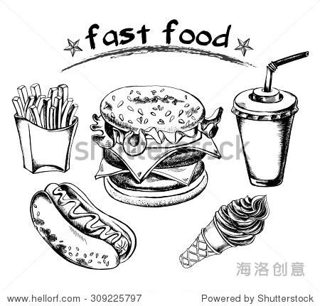 手绘的快餐,热狗,炸薯条,汉堡包,喝一杯纸板的稻草,锥