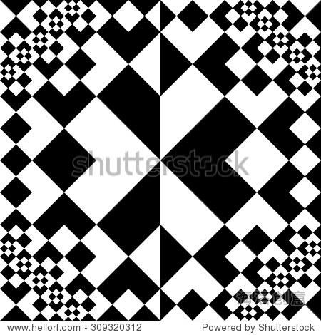 黑色和白色的正方形无缝模式 背景 素材,抽象 海洛创意正版图片