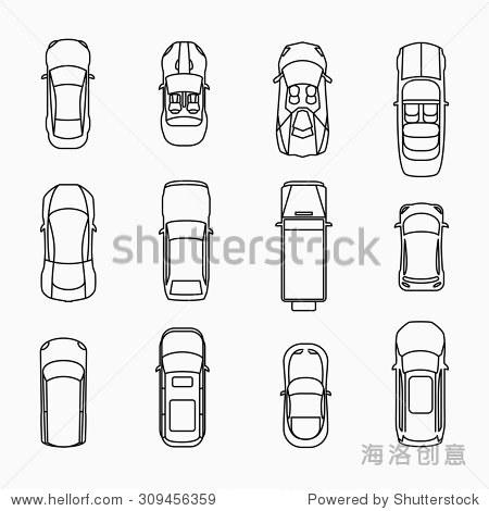 汽车图标顶视图.汽车及汽车,向量illuistration
