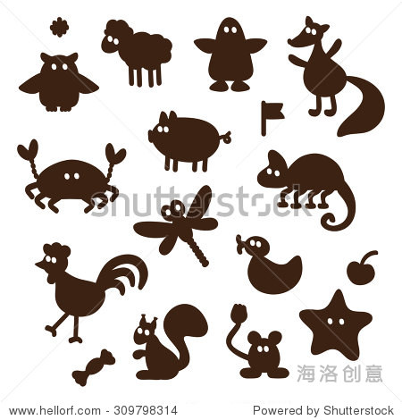 向量组卡通有趣的动物剪影
