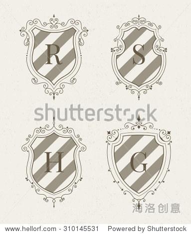 组豪华高端时尚模板的形式装饰中世纪纹章的盾牌.酒店