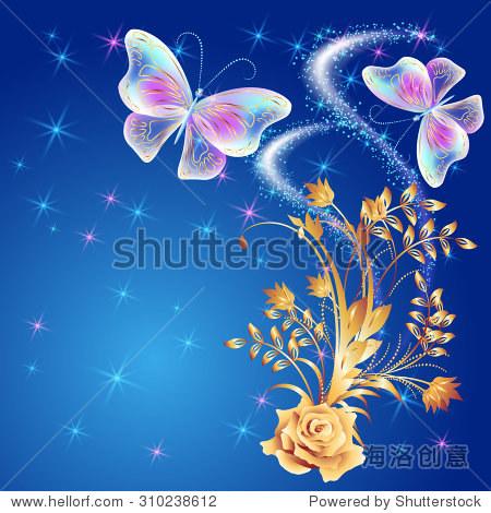 透明蝴蝶飞着金色点缀,玫瑰和发光的烟花