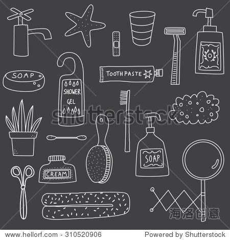浴室洗漱用品手绘涂鸦图标