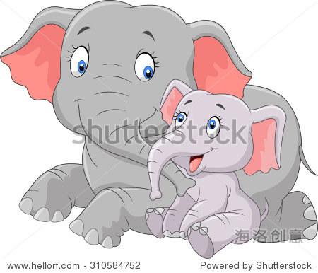 卡通可爱的母亲和婴儿的大象