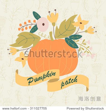 可爱的南瓜和鲜花的矢量插图与丝带的南瓜补丁花背景