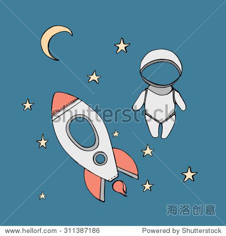 可爱的手绘与恒星漂浮在太空的宇航员,宇宙矢量插图