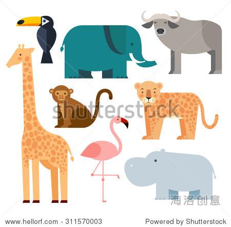 丛林动物图标设置孤立在白色背景