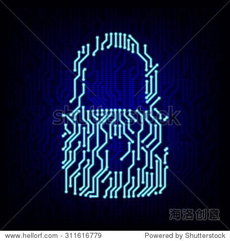 安全的概念.电路板锁标志图标矢量数字高科技风格的背景.
