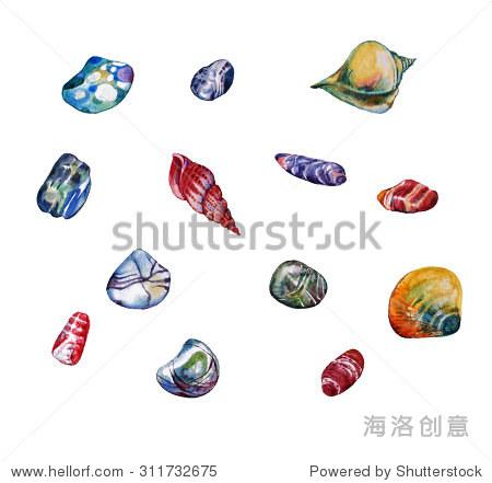 水彩手绘海上的石头,鹅卵石和海星. - 动物/野生生物