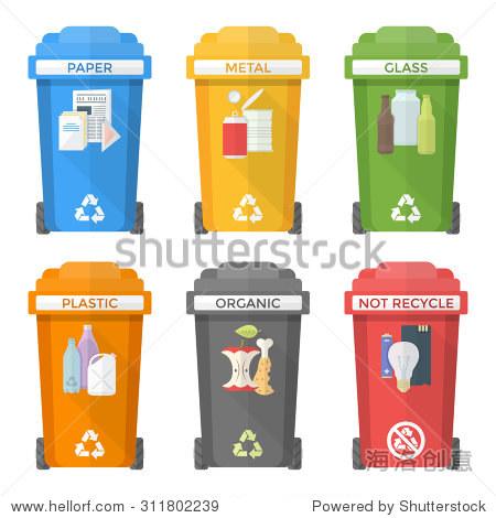 彩色平面设计分离回收垃圾桶图标标签标志白色背景长长的影子