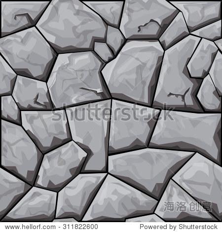 简单的灰色石头无缝模式.矢量图