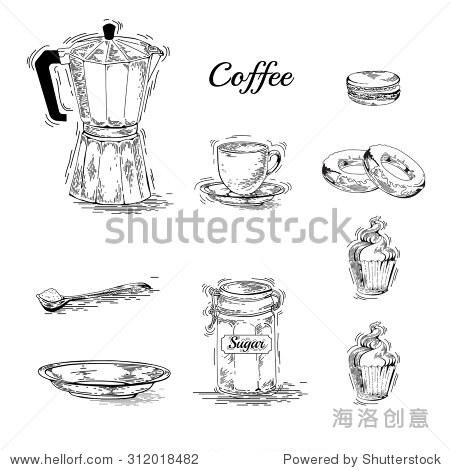 手绘咖啡器皿.咖啡机.古董咖啡海报.咖啡壶,杯碟,咖啡