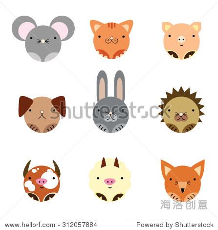 9可爱动物的矢量插图,画在圆形对称