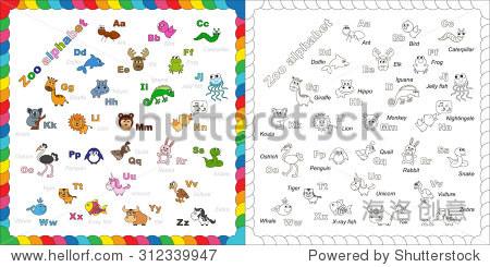 完整的孩子英语字母表动物园与有趣的卡通动物.美国广播公司(abc).