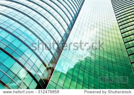 现代办公大楼的双重曝光 - 建筑物/地标,背景/素材
