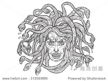 手绘zentangle风格的美杜莎的头