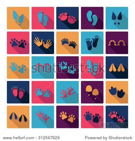 平面概念设计与影子收集不同的脚印, - 动物/野生生物