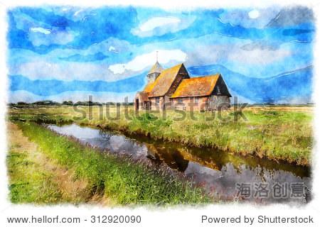 水彩画在肯特郡的英国乡村教堂 - 建筑物/地标,自然