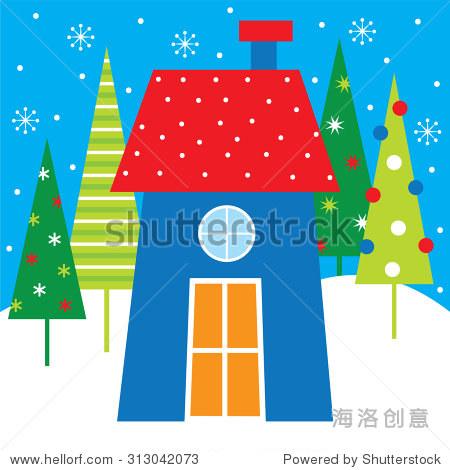 圣诞树圣诞房子,有可爱的设计你的个人贺卡