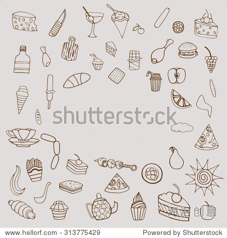 黑白手绘涂鸦卡通主题的食物.矢