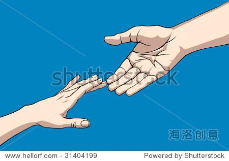 两只手伸出到另一个.位图的版本