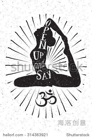 手绘矢量插图.启发排版海报和瑜伽女人和om符号.