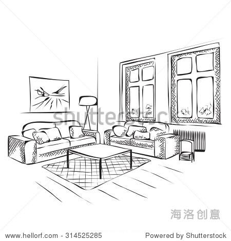 工程图 简笔画 平面图 手绘 线稿 450_469