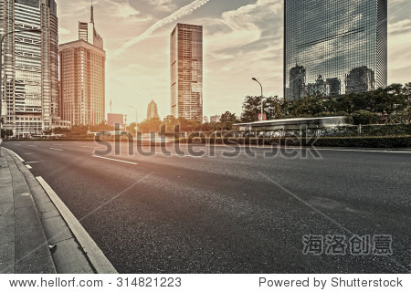 The century avenue of street scene in shanghai Lujiazui,China