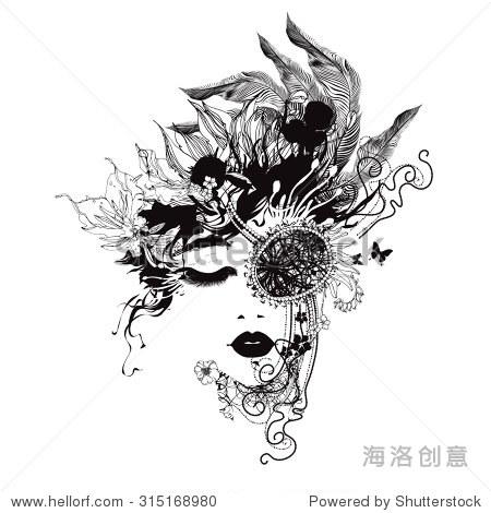 女孩用眼罩黑白面具