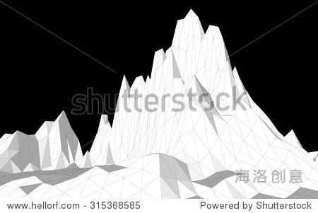 矢量图的三维线框景观组成的三角形的多边形