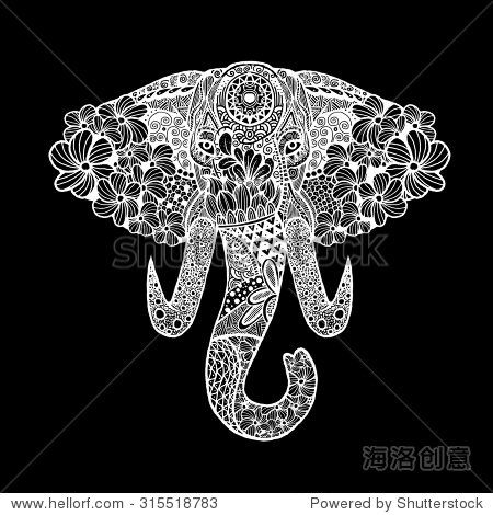 大象的程式化的头,手绘花边插图孤立.矢量图