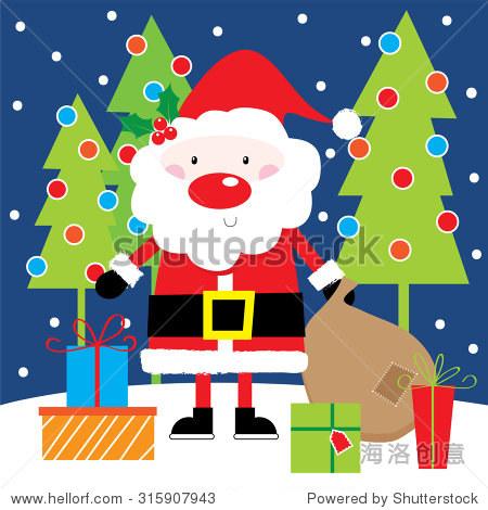 圣诞老人的礼物和圣诞树背景可爱设计适合你个人的