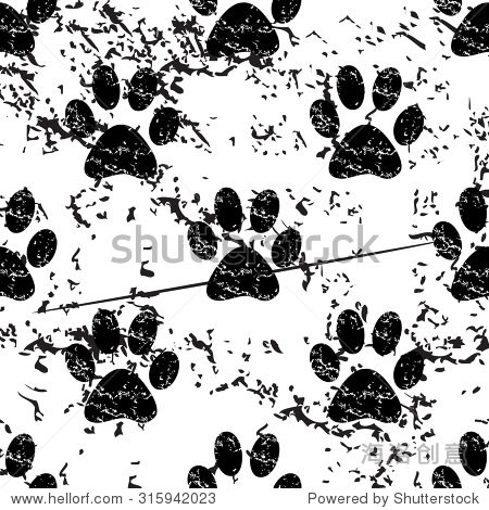 动物爪子模式枯燥乏味的,黑白色背景图像