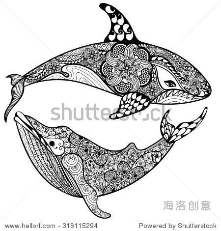 zentangle程式化的海洋鲨鱼和鲸鱼.手绘插图孤立在白色背景.