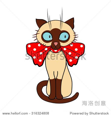 可爱的卡通暹罗猫