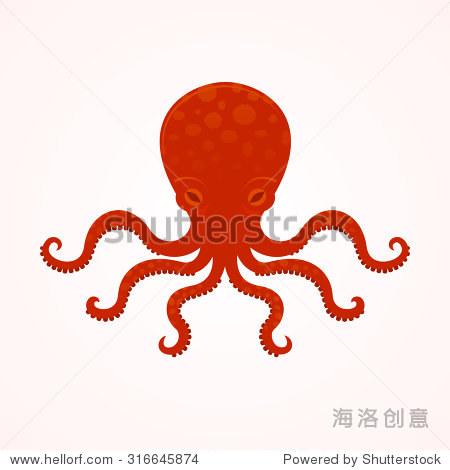 红大章鱼矢量插图,海怪,水下食物,明丽商业标志,矢量插图